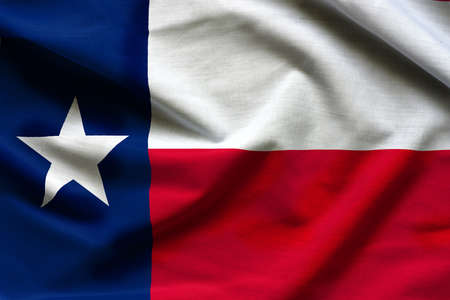 Fabric texture of the Texas Flag - Flags from the USA Stock Photo