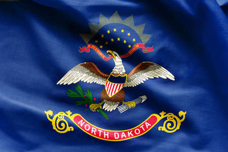 Fabric texture of the North Dakota Flag background - Flags from the USA