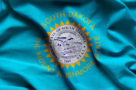 Fabric texture of the South Dakota Flag - Flags from the USA Standard-Bild