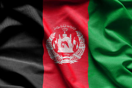 Colorful, closeup, wavy flag of Afghanistan