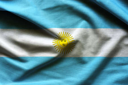 Argentina flag ,with waving fabric texture