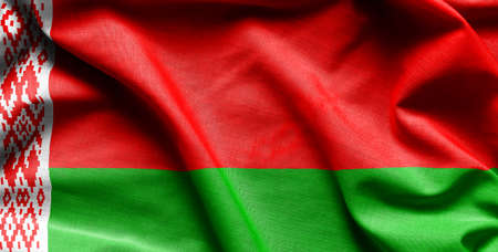 flag of Belarus on the wavy surface of fabric