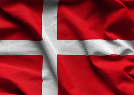 Waving flag of Denmark. Flag has real fabric texture.