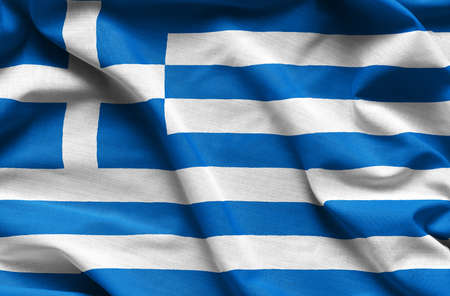 Greece waving flag - close up fabric background