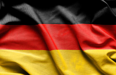 Fabric texture flag of Germany - close up fabric background