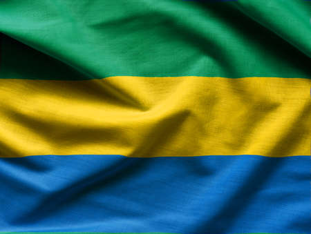 Realistic flag of Gabon waving with highly detailed fabric texture.