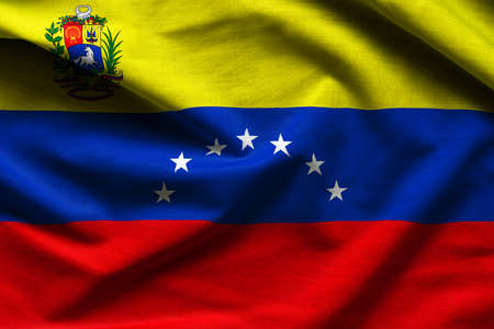Close up of the national flag of Venezuela - close up fabric background Standard-Bild