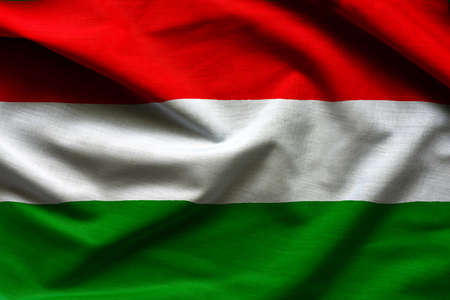 Fabric Flag of Hungary - close up fabric background