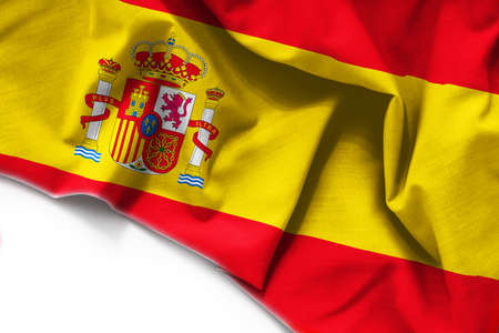 Fabric Flag of Spain on white background