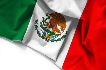 Fabric Flag of Mexico on white background Standard-Bild