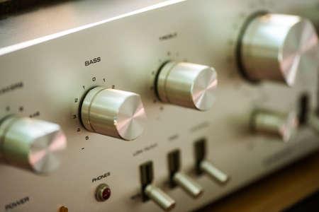 Volume control knob of vintage hi-fi amplifier