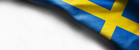 Waving flag of Sweden on white background