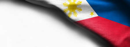 Philippine waving flag on white background - right corner flag