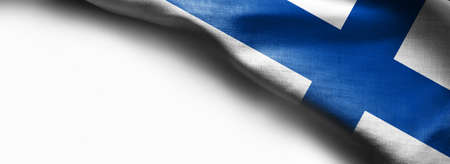Finland Flag on white background - right top corner flag