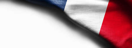 Curved flag of France on white background - right top corner flag