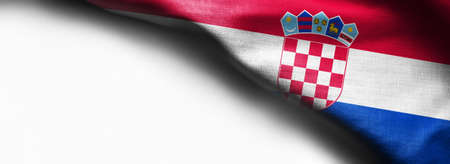Flag of Croatia on white background - right top corner flag Stock Photo