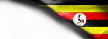 Uganda flag on white background - right top corner flag