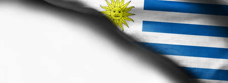 Flag of Uruguay on white background - right top corner flag