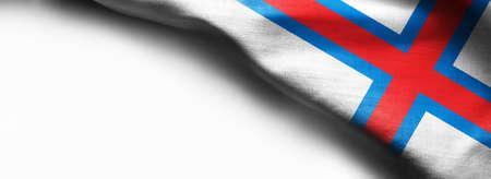 Flag of Faroe Islands on white background - right top corner flag Standard-Bild - 104807838