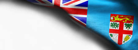 Realistic flag of Fiji on white background - right top corner flag Standard-Bild - 104807839
