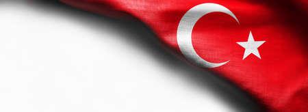 Turkey flag on white background - right top corner flag Standard-Bild - 104807841