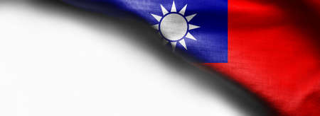 Taiwan Flag on white background - right top corner flag