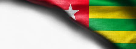 Fabric Flag of Togo on white background - right top corner flag Standard-Bild - 104807843