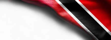 Trinidad and Tobago flag on white background - right top corner flag