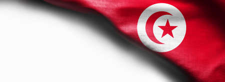 Tunisia waving flag on white background - right top corner flag