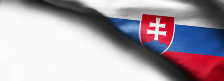Fabric Flag of Slovakia on white background