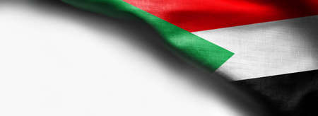 Fabric texture flag of Sudan on white background Standard-Bild - 105313771