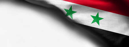 Waving flag of Syria isolated on a white background