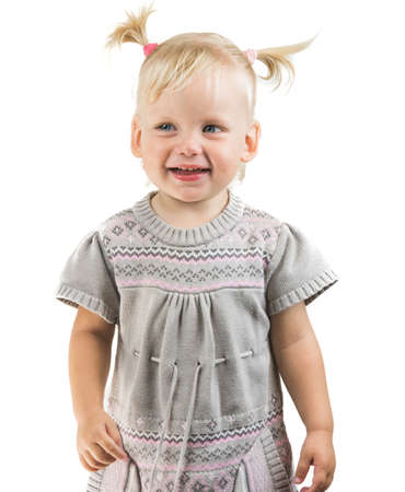 Happy child baby girl toddler looking straight isolated Standard-Bild - 105810316