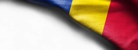 Romania waving flag on white background Standard-Bild - 105810337