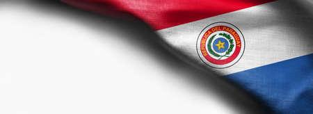 Waving flag of Paraguay, South America on white background - Standard-Bild - 105810338
