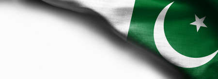 Waving Flag of Pakistan on white background Standard-Bild - 105810357