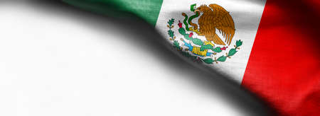 Mexican waving flag on white background Standard-Bild - 105810358