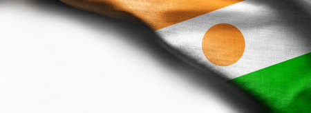 Niger waving flag on white background