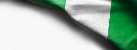 Nigerian waving flag on white background