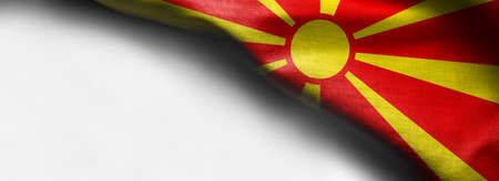 Macedonia waving flag on white background - corner flag Stock Photo