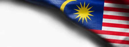Fabric texture flag of Malaysia on white background Standard-Bild - 107914986