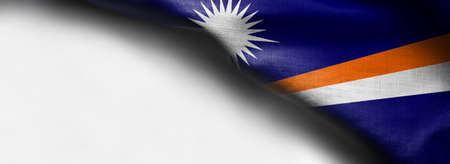 Marshall Islands flag on white background - right top corner Stock Photo