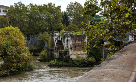Rome cityscape - An old bridge in Rome Stock Photo
