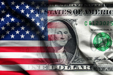 American Flag with one dollar banknote - waving fabric background, wallpapers, close-up