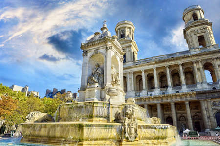 Fountain in front of the church of Saint-Sulpice. Paris. France