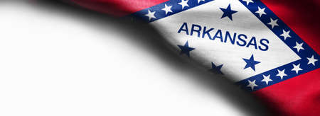 Fabric texture of the Arkansas flag on white background.