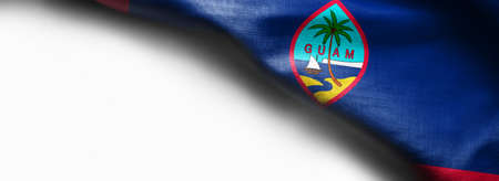 Fabric texture of the Guam flag on white background.