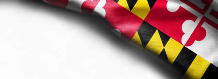 Fabric texture of the Maryland flag on white background.