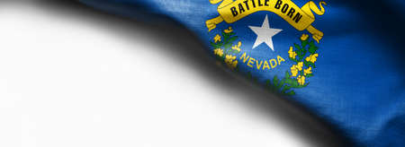 Fabric texture of the Nevada flag on white background.
