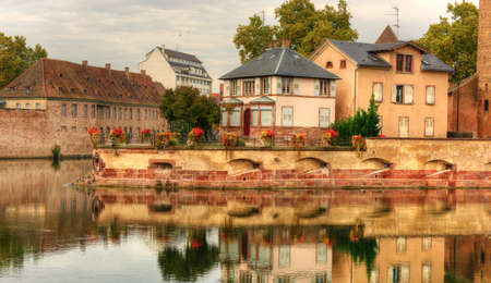 view on Petite-France - towers and bridge in Strasbourg city, France